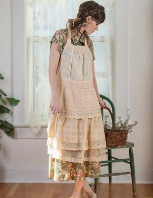 Victorian Trading Co April Cornell Romantic Lavish Lace Apron Ivory