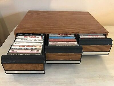 Vintage Cassette Tape Storage Container With 40 1970's-80's Music Cassette Tapes
