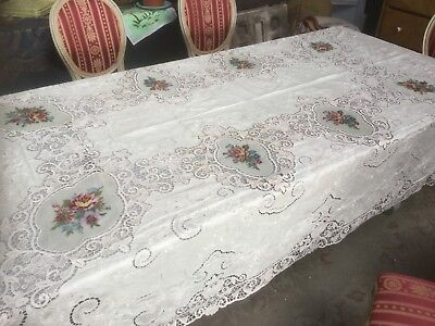 The best antique Victorian needle lace & cutwork table cloth w petit point roses