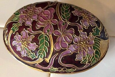 Antique Colored cloisonne Hand Made Oval Jewelry Box Floral