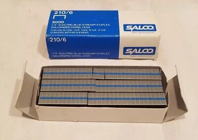 """New Old Stock, Salco 1/4"""" Electric Blue Streak Staples, 5000 count,  210/6"""