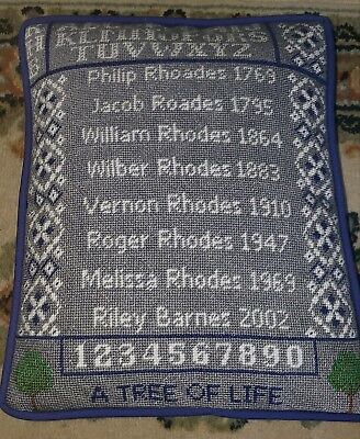 Your own personal family handpainted needlepoint geneology sampler canvas