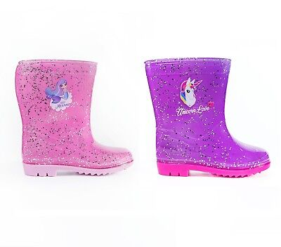 GIRLS GLITTER UNICORN Wellies Pink Glitter Mermaid Wellie Boots Rain Splash Snow