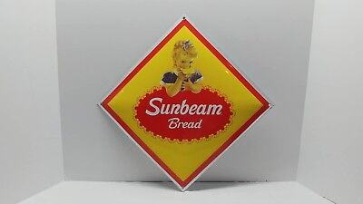 "Sunbeam Bread PORCELAIN Advertising Sign 12"" X 12"" Pickers Collectors NICE L@@K!"