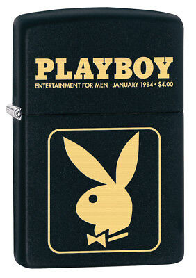 Zippo Custom Lighter Playboy Bunny January 1984 Regular Black Matte New Dad Gift