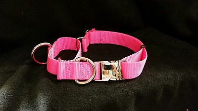 1.5 Martingale Dog Collar 2 D Ring Training/Walking Metal Side Release Buckle