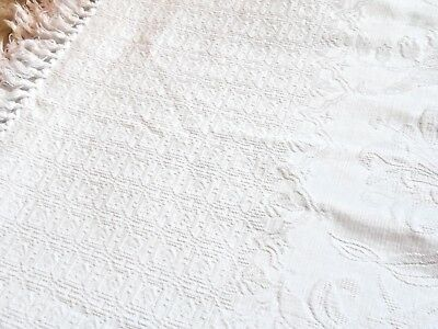 """Antique Matelasse Fringed Bed Cover 86"""" X 80"""""""