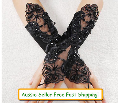 Womens Lace Satin Gloves Wedding Punk Party Gothic Black Fingerless Pearl Costum