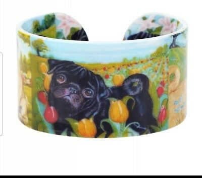 AKC Black Pug Dog Cuff Bracelet Jewelry sweet!!  Design 1 of 3