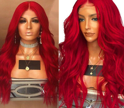 """AU 24"""" Lace Front Wig Long Curly Wavy Red Fashion Heat Safe Fiber Hair Women"""