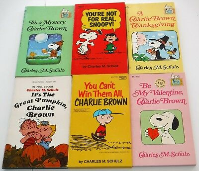 Lot of 6 Charlie Brown Snoopy Peanuts books Charles M. Schulz  #cb4