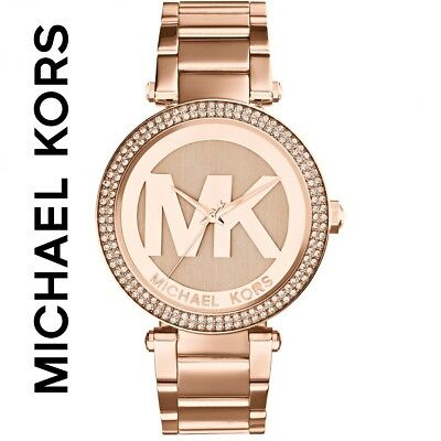 Michael Kors Parker Mk5865 Womens Rose Gold Watch Crystals - Bnib With Tags