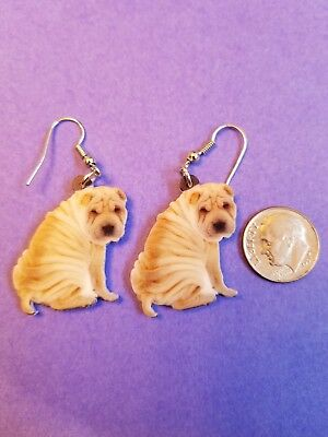 Chinese Shar Pei Dog  lightweight fun earrings  jewelry FREE SHIPPING!