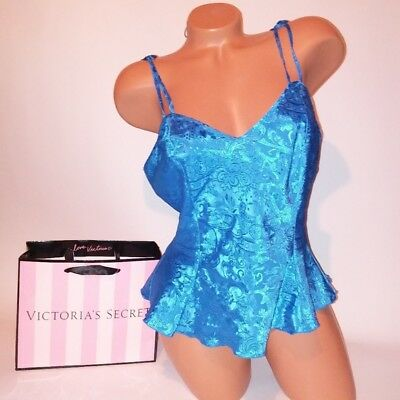 Victoria Secret Lingerie Vintage Camisole Medium Blue Tank Top Sleepwear