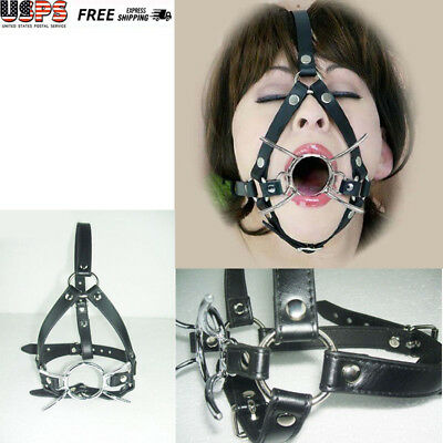 Role Play Toys Stainless Steel O-Ring Spider Open Mouth Ring Gag Head Harness US