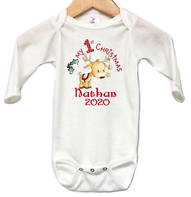 36be90688 Babys first Christmas Reindeer Star Personalized NAME Infant Bodysuit Onesie