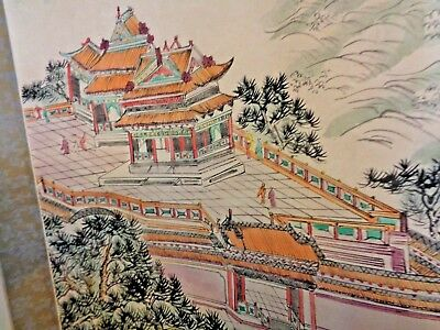 Antique Chinese Silk Scroll Painting 7 FT Long W/ Extra Silk Painting Seal Marks