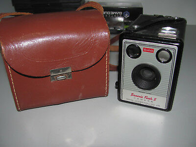"Kodak Brownie Flash II Film Camera And Case ""In Good Vintage Condition"""
