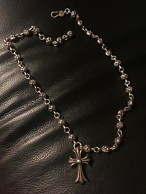 ca8abb28d71d Authentic Chrome Hearts cross pendant w  925 silver cross ball chain  necklace