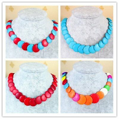 1 Strand Mixed Color Turquoise Laminated Chain Necklace Round Loose Bead DZ975