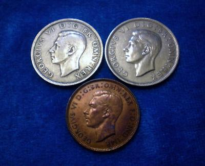 Lot/3 1948 U.K. Great Britain Coins-2 Silver Half Crowns & 1 Large Penny  (309M)