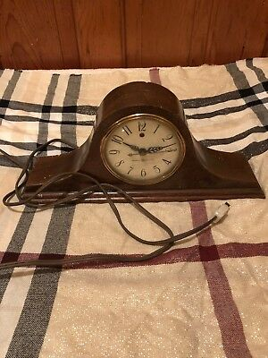 Vintage General Electric  Mantle Clock  Mahogany Camel Back  1930 - 40's