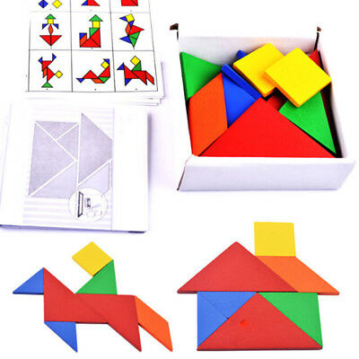 32x Kids Toy Wooden Tangram Developmental Brain Teaser Puzzle Tetris Game Gifts