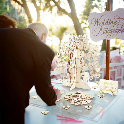 Wooden Wedding Wishing Tree Set Party Guest Sign Book Attendance Cards Decor