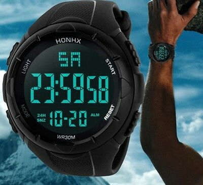 Men's LED Digital Sport Wrist Watches Round Waterproof Silicone Three Color Gift