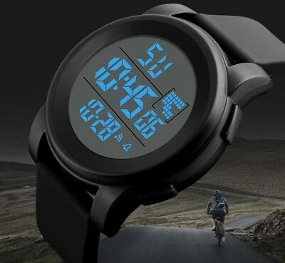 Men's Waterproof LED Sports Watches Casual Digital Round Quartz Three Color Gift