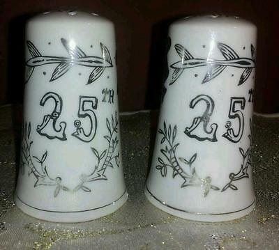 Vintage Lefton China 25th Silver Anniversary Salt & Pepper Shakers Japan #1957