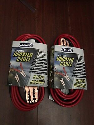 Certified Jumper Cables 12FT 10GA Automotive Lot Of 2 Packages
