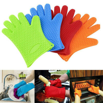 Oven Silicone Mitts Heat Resistant BBQ Grill Cooking Gloves Kitchen Pot Holder