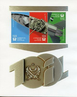 Azerbaijan 2018 MNH Armed Forces 100th Anniv 3v M/S Ships Tanks Military Stamps