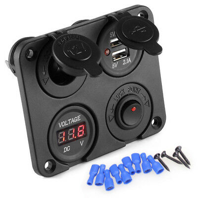 Car Cigarette Lighter Socket Splitter 12V Dual USB Charger Power+Voltmeter Panel
