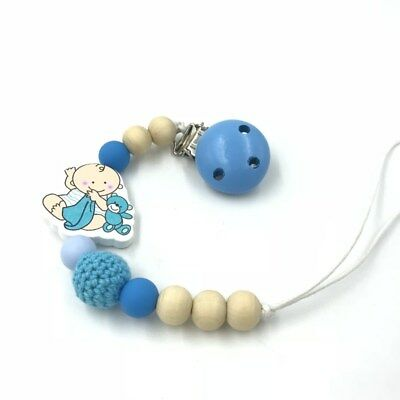 DIY Blue Wooden Baby pacifier Clip Silicone beads Crochet beads pacifier chain