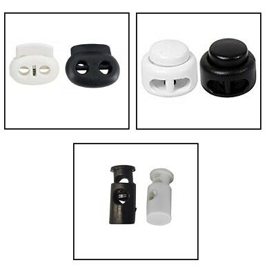 Spring Loaded Drawstring Plastic Toggle Cord Stopper With Single,TwinHole Button