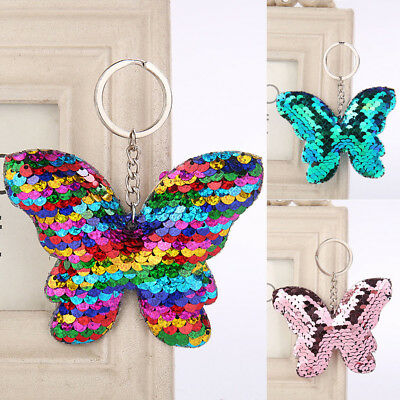 Butterfly Keychain Glitter Sequins Key Chain Gift Car Bag Accessories Key Ring