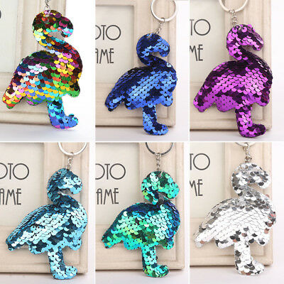 Flamingo Keychain Glitter Sequins Key Chain Gifts Car Bag Accessories Key Ring~