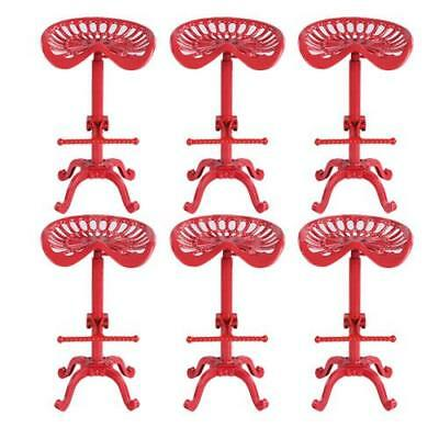 6pcs Red Tractor Cast Iron Metal Bar Stool Swivel Chair Vintage Industrial P5H1