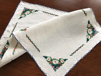 Vintage Hand Embroidered Natural Linen Table Centre / Tray Cloth