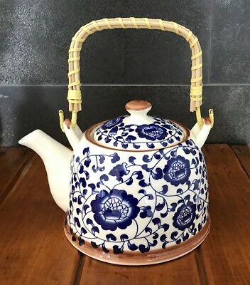 Teapot Ceramic & Rattan With Stainless Steel Infuser Blue Flower Design / Gift