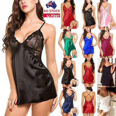Womens Lace Satin Silk Babydoll Nightdress Nighty Lingerie Sleepwear Nightwear