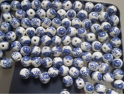 6/8/10/12/14mm  Blue and white porcelain ceramic beads Accessories round beads