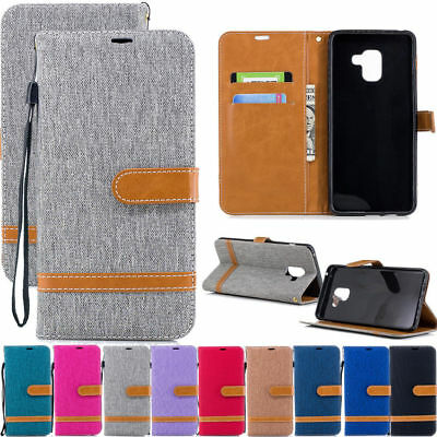 For Samsung Galaxy J4 J6 A5 A6 A8 2018Canvas Leather Flip Wallet Card Case Cover