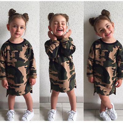 Kids Baby Girl T-shirt Camouflage Dress Clothes Long Sleeve Fall Winter 1-6Y
