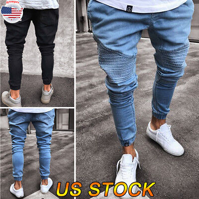 Men Demin Jeans Stretchy Tight Drape Trousers Skinny Slim Fit Pant Loose Jeans