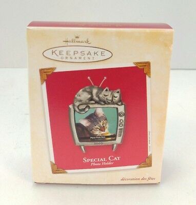 2003 Special Cat Photo Holder Hallmark Keepsake Ornament, Metal Frame, Excellent