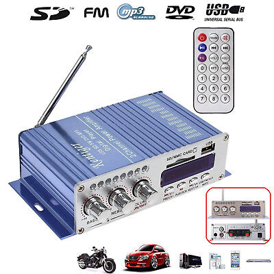 Audio Auto Verstärker Amplifier LCD Bluetooth HiFi Stereo FM USB SD AMP 12V 2CH