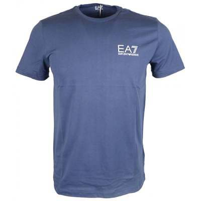 EA7 by Emporio Armani Cotton Plain Printed Stretch Navy T-Shirt